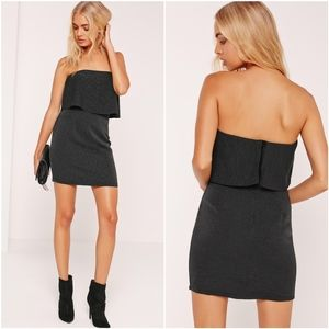 Missguided Black Pleated Bandeau Bodycon Dress
